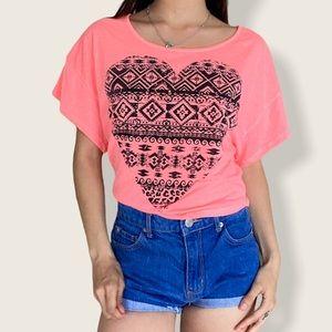 Neon Pink Heart Shirt